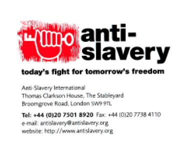 Anti Slavery International – Letter to Karel de Gucht 11/04/11
