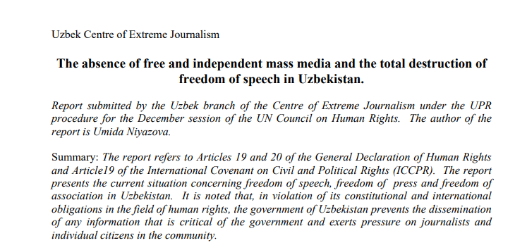 The Absence of Free and Independent Mass Media and the total Destruction of Freedom of Speech in Uzbekistan