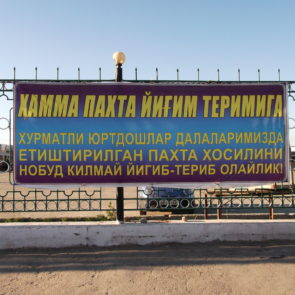 "Nukus City, ""Everyone to the cotton harvest. Dear compatriots, gather all cotton crop grown in our fields without loss"""