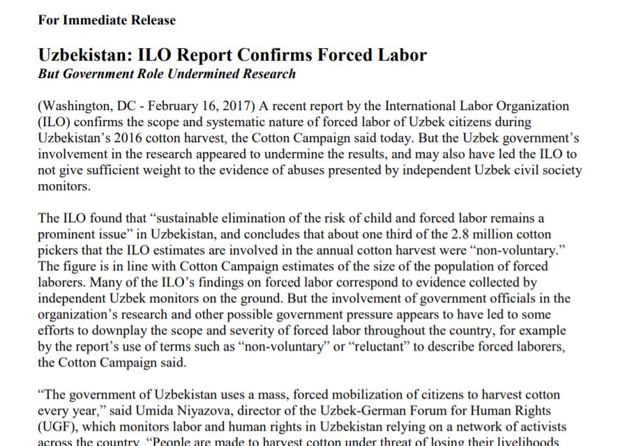 ILO Report Confirms Forced Labor