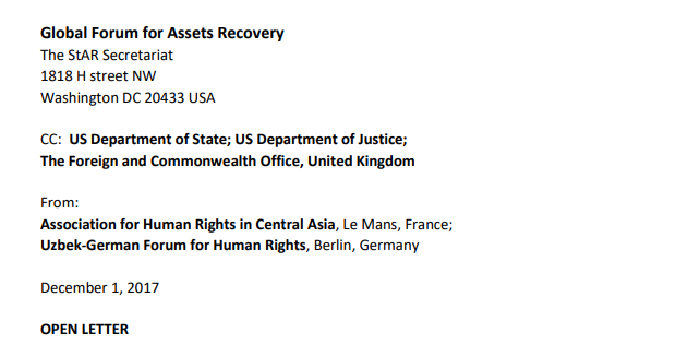 Open Letter to the Global Forum for Assets Recovery