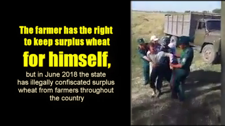 Police officers forcefully take wheat collected by farmers
